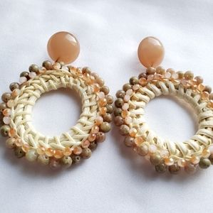 Women Straw Bead Beaded Earring